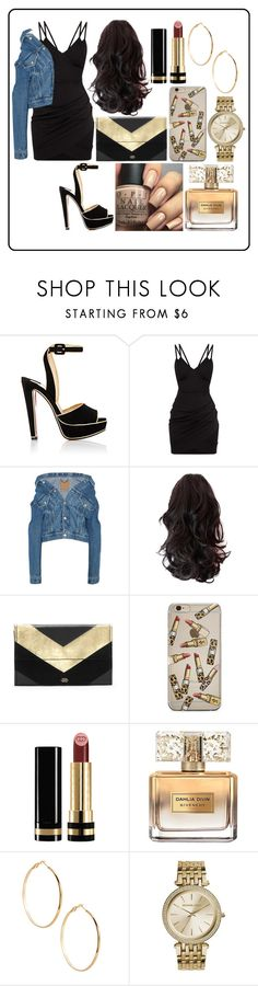 """""""Pretty Little Thing Event"""" by laurajessica ❤ liked on Polyvore featuring Christian Louboutin, Balenciaga, Vince Camuto, OPI, Gucci, Givenchy, GUESS by Marciano, Michael Kors, like and denim"""