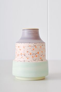 Bud Vase - Orange Dot by KOROMIKO. Handmade in Minnesota by ceramicist Ben Fiess.