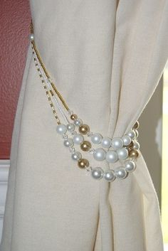 Pair of Hand Beaded 3 strand White and Gold Pearl Curtain Tiebacks | ReallyCoolNutcrackers - Housewares on ArtFire