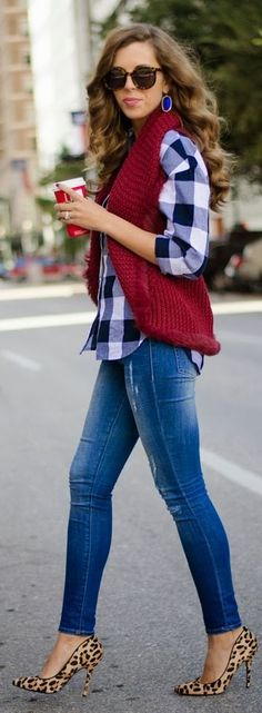 Fall Chic Style // Burgundy Knitted Vest, Plaid Shirt, Denim Jeans, Leopard Pumps