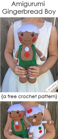 Amigurumi Gingerbread Boy - A Free Crochet Pattern Meet Snap the Gingerbread Boy! Pattern includes photo tutorial and step by step instructions to make your own cuddly stocking stuffer! Christmas Crochet Patterns, Holiday Crochet, Crochet Patterns Amigurumi, Crochet Gifts, Crochet Dolls, Crochet Eyes, Thread Crochet, Easy Crochet, Crochet Baby