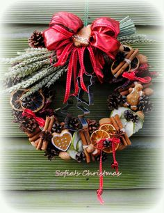 Christmas wreath with dried barley and ceramic christmas decorations