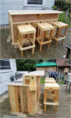 Pallets Outdoor Furniture Pallet outdoor bar - Here I am going to present you th.Pallets Outdoor Furniture Pallet outdoor bar - Here I am going to present you the most durable and reliable pallet furniture i# bar Pallet Furniture Designs, Pallet Patio Furniture, Bar Furniture, Modern Furniture, Rustic Furniture, Wood Patio, Furniture Online, Furniture Outlet, Furniture Companies
