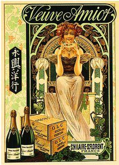 Veuve Amiot Champagne Advertisement Art Print. Alcohol Vintage poster / vieille affiche publicitaire d'alcool. Drink ads.