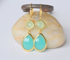 Large Turquoise Teardrop and Mint Diamond Stone Dangle Bridesmaid Earrings in Gold.  Glass Drop Earrings. Turquoise Dangle Earrings.