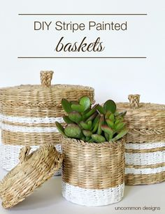 DIY Stripe Painted Basket Tutorial by Uncommon Designs. Get organized in style!