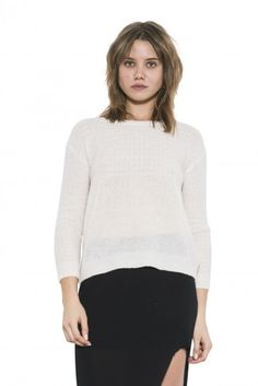 One Grey Day Womens Long Sleeve White/Grey Andy Pullover Sweater Wool by XS White Long Sleeve, Pullover Sweaters, Turtle Neck, Wool, Knitting, Grey, Fall 2015, Shirts, Clothes