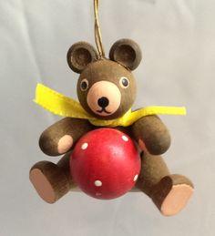 Wooden Teddy Bear w Ball CHRISTMAS Ornament Erzgebirge German