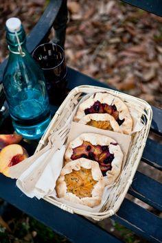 Peach and Peach Blueberry Galettes with Lemon Thyme Sugar via Tartelette