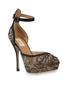 Valentino Spring/Summer 2013. Sandal in satin and lace. Adjustable ankle strap. 140 mm heel, 45 mm plateau $1245.