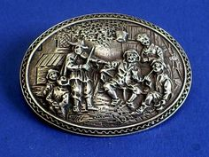 LOVELY ANTIQUE DUTCH SILVER PICTORIAL REPOUSSE BROOCH VIOLIN/FIDDLE PLAYER