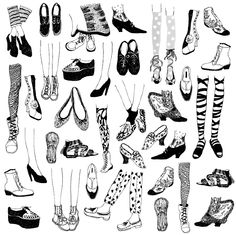Eszter Chen's shoes and legs pattern design http://eszterchen.com/Textile-design