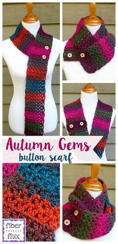 Autumn Gems Button Scarf, free crochet pattern + full video tutorial on Fiber Flux!