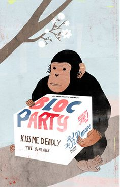 Bloc Party, Kiss Me Deadly + The Oohlahs illustrated gig poster