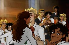This is gold, take a moment to appreciate each and every character here. lol Percy and hazel.