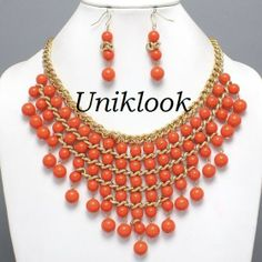 Waterfall Orange Coral Color Beads Pearl Gold Bib Necklace Set FASHION JEWELRY $24.99