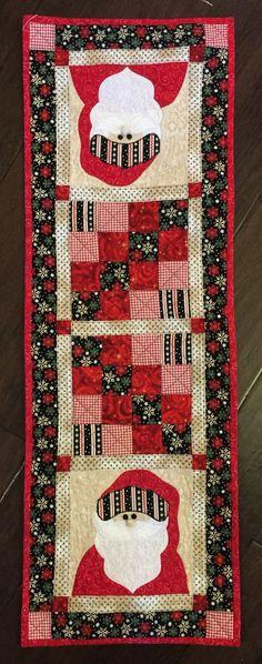 Santa Table Runner, Christmas Quilt for table, Christmas quilt, mini quilt, Christmas quilt runner