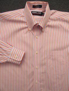 White Various Sizes KIRKLAND SIGNATURE Custom Fit L//S Formal Shirt
