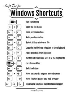 Shortcuts for Windows Computers Life Hacks Computer, Computer Lessons, Computer Basics, Computer Help, Computer Tips, Computer Keyboard, Technology Hacks, Medical Technology, Computer Technology