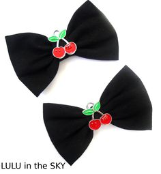 "rockabilly bows | ... Cherry detail 3"" Rockabilly Hair Bows on clips Double Bows Set of two"