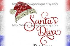 Cutting file Santa's Diva with hat, in Jpg Png SVG EPS DXF, for Cricut
