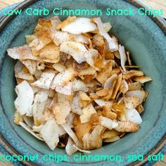 No grain, low carb, cinnamon snack chips.  Make a batch in 3 minutes.