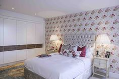 Luxury Bedroom Interiors with Floral Wallpaper | JHR Interiors