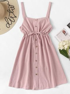 Shop Single Breasted Drawstring Waist Pocket Side Dress at ROMWE, discover more fashion styles online. Cute Summer Outfits, Cute Casual Outfits, Pretty Outfits, Pretty Dresses, Beautiful Outfits, Spring Outfits, Summer Dresses, Casual Summer, Teen Fashion Outfits