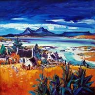 Overlooking Portuairk with Rhum and Eigg Colorbox, Vibrant Colors, Colours, Oil On Canvas, Landscape, Gallery, Painting, Art, Art Background
