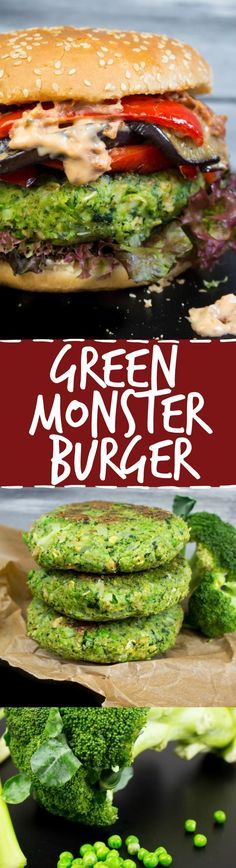Green monster veggie burger with grilled eggplant, red bell pepper, and sun-dried tomato mayo. The green patty is made of kale, peas, broccoli, and celery.