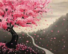 Japanese Cherry Blossom La Rosa Ristorante MAY 20 2016 #paintnite #durhamregion #cherryblossom #japanese #paint #paintings #drinkcreatively