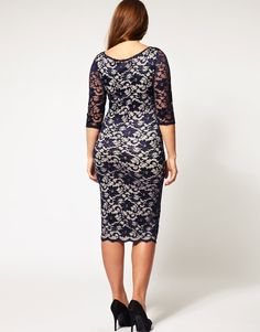Back View - ASOS CURVE Exclusive Midi Dress In Lace
