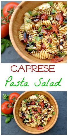 All the delicious taste of a Caprese Salad added with pasta is sure to be a hit with any crowd and is also kid-friendly!