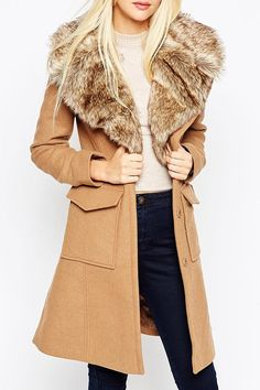 A Line Fit with Faux Fur Collar and Belt Coat