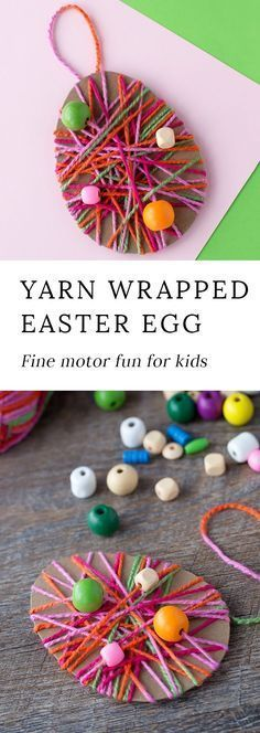 Just in time for Easter, kids can learn how to make a colorful Yarn Wrapped Easter Egg Craft at school or home. Such a pretty fine-motor craft for kids! #eastercraftsforkids #preschoolecraftsforkids #easterpreschoolcrafts #yarnwrappedeastereggcraft #eastereggdecorating via @https://www.pinterest.com/fireflymudpie/ #learningcraftforkids #craftforkidstomake