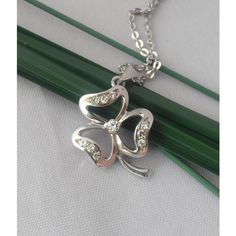 18k solid White Gold Clover Pendant with Diamonds (€342) ❤ liked on Polyvore featuring jewelry and pendants