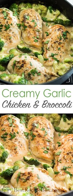 Skillet Creamy Garlic Chicken and Broccoli everyone will love! | /bestrecipebox/