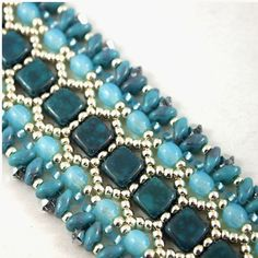 Hand bead woven bracelet in Turquoise Teal by ChainedByLightness