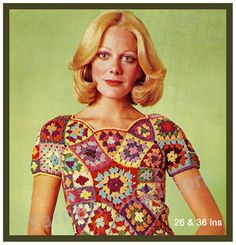 Modern Vintage Granny Square Crochet Top: Sizes 26-36 ins