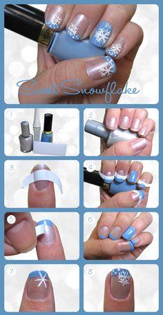 Sweet Snowflake Nail Tutorial nails winter diy nail art christmas how to nail designs christmas nails nail tutorials nail art ideas