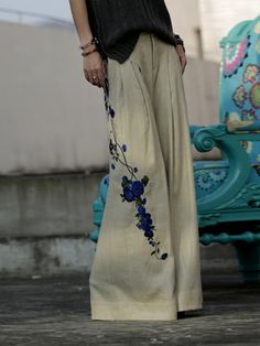 Floral-embroidered Linen Wide Leg Pants