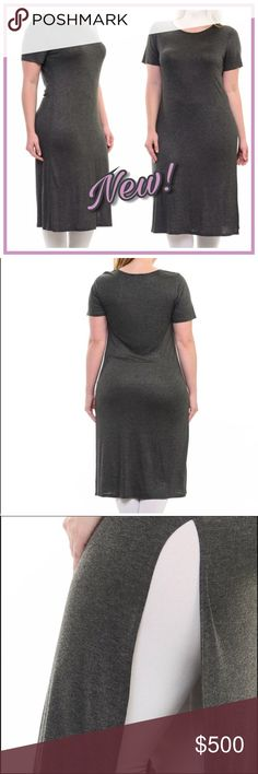 ✨COMING SOON!✨Bellino Plus Size Long Tunic Tee✨ 🆕Brand New Long Tunic Tee with Side Slit in •Charcoal• Super comfy to wear with your favorite leggings or jeans! Made in USA🇺🇸97% Rayon 3% Spandex🔹NO TRADES🔹PRICE WILL BE FIRM UNLESS BUNDLED🔹💟20% OFF BUNDLES💟**Like this Listing to be notified of Arrival** Bellino Clothing Tops Tunics