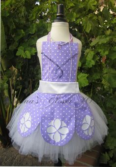 Inspired Sofia the First Tutu / Sofia the First Full  Apron inspired Dress Child Infant Toddler unattached White Tutu