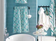 sdb bleu pastel / linge de bain bleu, turquoise, gris et blanc