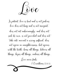 Thank You Quotes Discover 1 Corinthians love is patient scripture printables Christian wall art Bible verse art love is kind wedding art anniversary Bible Verses About Love, Bible Verse Art, Favorite Bible Verses, Bible Verses Quotes, Scriptures, Mothers Day Quotes, Mom Quotes, Faith Quotes, Qoutes