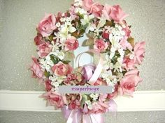 Spring Summer 2 Tone Pink Rose Silk Flower Wreath Arrangements Wedding Door Deco | eBay