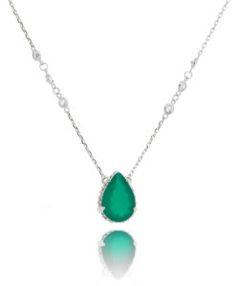 colar com novo tiffany de gota zirconia esmeralda prata