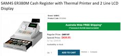 Buy SAM4S ER380M Cash Register with Thermal Printer and 2 Line LCD Display at Discounted rate $439.95 regular price $497.97 with FREE Shipping across Australia...!  http://www.onlypos.com.au/cash-register-sam4s-er-380m-with-thermal-printer-and-2-line-lcd-display