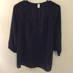 Black 3/4 sleeve blouse Black 3/4 sleeve blouse with tie on chest area. Good condition. Old Navy Tops Blouses
