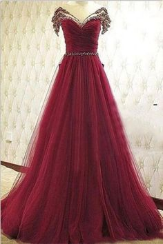 Burgundy A-line Prom Dreses,High Low Beaded Handmade Prom Gowns,Long Prom Dress,Formal Evening Dresses,Beautiful Princess Party Dresses